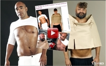 Norwegian radio hosts Johan Golden and Atle Antonsen checks out the latest in male fashion