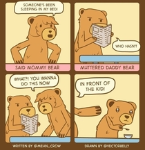 Not in front of the kid papa bear
