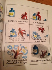 Not sure how I feel reading old curious George books to my two year old daughter