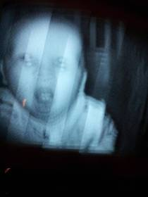 Not sure why your cousin was freaked out by their baby monitor -- this is what shows up on mine every night