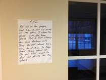 Note a custodian left in my dorm