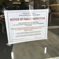 Notice of Failed Inspection Posted at Apple Store in San Diego