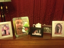 On top of my parents piano there are pictures of my siblings and their spouses and then there is me