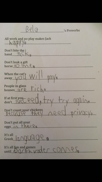 One of my friends just sent me her kids homework After the answer at the bottom I realize this kid is going places