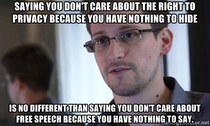One of the greatest things Ive heard from Edward Snowden regarding bill C- and surveillance in general