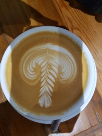 Ordered a latte yesterday Got a very particular design from the barista Now unsure what to think
