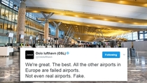 Oslo Airports retracted tweet imitating a certain world leader