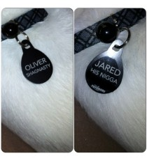 Our cat lost his collar and name tag so I sent my boyfriend to get new ones Uhm hello I have Oliver Shagnasty here Is this Jared His nigga