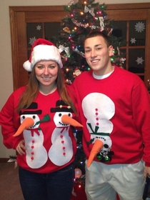 Our home made sweaters for grandmas contest