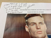 Our ice machine was broken so I left a photo of Vanilla Ice on the machine The repairman wrote a reply on the note