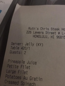 Our servers name is what