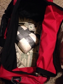 Our son wants a duffel bag for Christmas We decided to give him cash and chocolate chip cookie ingredients as well