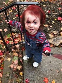 Our two year old daughter Because when big sis wants to dress up as Jason Voorhees what better side kick than Chucky