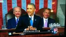 Our way of making the state of the union fun taping moustaches to the screen and drinking when they line up