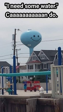 Overly happy water tower