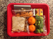 Packed our sons school lunch We were out of juices boxes so I improvised