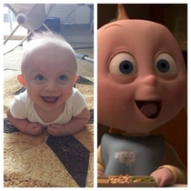 People always tell me my son looks like Jack Jack from The Incredibles I think theyre right