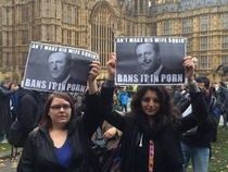 People protesting the British porn ban get a little personal with the PMs sex life
