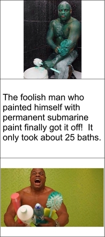 Permanent painted Hulk man is finally clean
