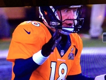 Peyton Mannings face as the ball is snapped past him