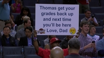 Pic #1 -  Dad of the Year candidate at the Cavs vs Hornets game