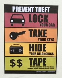 Pic #1 - I added some new anti-theft signs to a mall parking lot