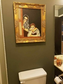 Pic #1 - I asked my wife to paint me something old timey that looks like it was stolen from a museum to go above the toilet in my man land Nailed it