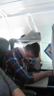 Pic #1 - I fell asleep on the plane even the air hostess took pictures I have great friends
