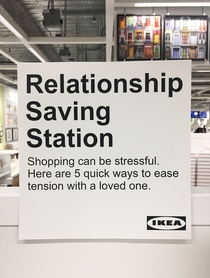 Pic #1 - I installed a Relationship Saving Station at Ikea to help keep couples from fighting