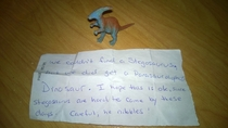 Pic #1 - Last summer when booking a hotel under the Special Requests section I put Can I please have a baby Stegosaurus in my room I will bring the food and water and Ill take care of him Thanks This was what was on the bed when I arrived