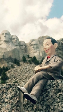 Pic #1 - My friend and I are festival production techs We travel the country and my friends pee wee doll comes with us too Thought youd enjoy some of these ridiculous photos of pee wee on stage with gwar at mt Rushmore and more