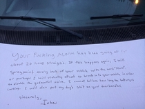 Pic #1 - My friend came back from an overnight shift to find this message written in permanent marker on his van