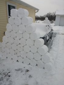 Pic #1 - My roommate left on a cruise for a week right before all these snowstorms I decided to play a little prank on him