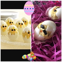 Pic #1 - Our attempt at deviled egg chicks