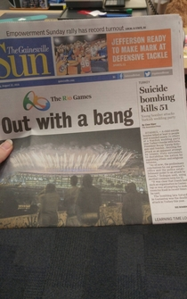 Pic #1 - Out with a bang - Newspaper gold