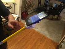 Pic #1 - So this morning I see my Father making a makeshift Selfie stick This is what he did with it
