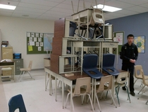 Pic #10 - My class decided to make little chair structures and it ended up escalating to something really big that everyone in the school knew about and ended up in the schools yearbook