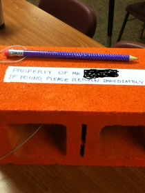 Pic #2 - A kid made this for a teacher whos pencils were being stolen