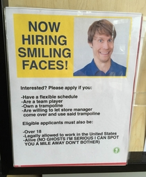 Pic #2 - I added this fake hiring sign and application to my local electronics store