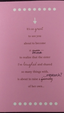 Pic #2 - I finished my PhD This is the card my sister gave me