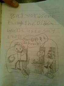 Pic #2 - My  year old nephew keeps a daily journal This is his account of his mother flipping out at Best Buy over a refund