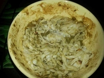 Pic #2 - Not tapeworms swimming in Spinach Poop those are Thai Noodles in green curry
