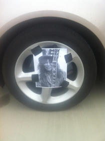 Pic #2 - One of my coworkers is leaving the company today so we slashed his tires