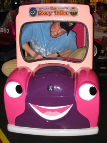 Pic #2 - Over the past few years I have been cramming myself into small childrens rides at the mall