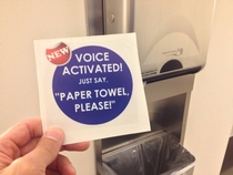 Pic #2 - So I had some stickers printed to stick on paper towel dispensers in public bathrooms