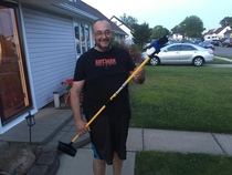 Pic #2 - So this morning I see my Father making a makeshift Selfie stick This is what he did with it