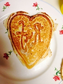 Pic #2 - Wife made me pancakes I laughed at her because she spelled my name backwards on the first pancake so she made me the second one