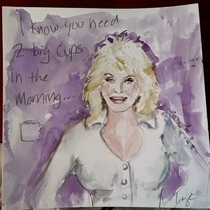 Pic #3 - Each morning my wife leaves me a funny water color painting in front of our coffee maker or the bathroom mirror Here they are - please enjoy