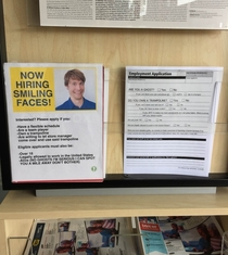 Pic #3 - I added this fake hiring sign and application to my local electronics store