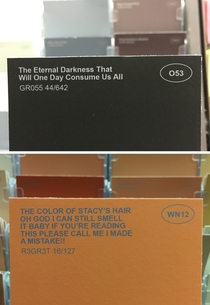 Pic #3 - I renamed some of the paint colors at the hardware store